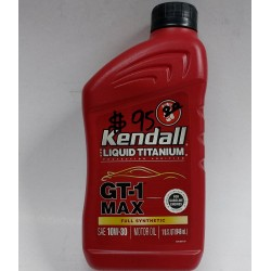 KENDALL GT-1 FULLY SYNTHETIC GTI MAX LIQUID TITANIUM 10W-30 ENGINE OIL QUART